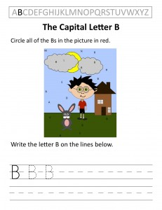 Download the capital letter B worksheet
