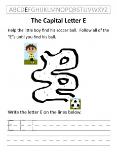Download the capital letter E worksheet