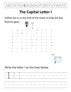 Download the capital letter I worksheet