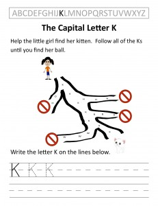 Download the capital letter K worksheet