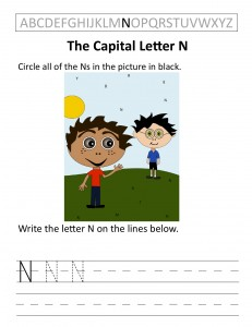 Download the capital letter N worksheet