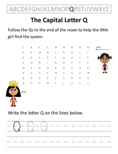 Download the capital letter Q worksheet