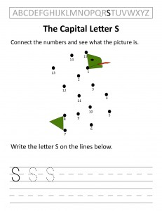Download the capital letter S worksheet