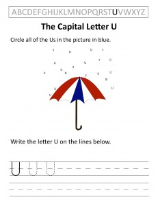 Download the capital letter U worksheet
