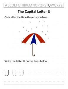 Download the capital letter U worksheet
