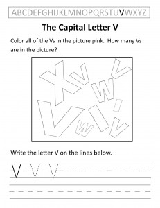 Download the capital letter V worksheet