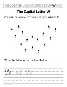 Download the capital letter W worksheet