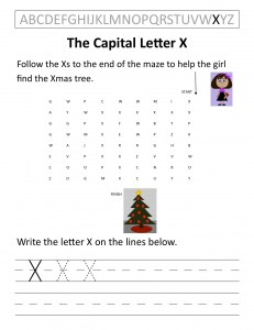 Download the capital letter X worksheet