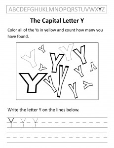 Download the capital letter Y worksheet