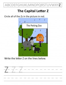 Download the capital letter Z worksheet