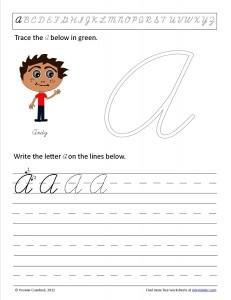Download the cursive capital letter A worksheet