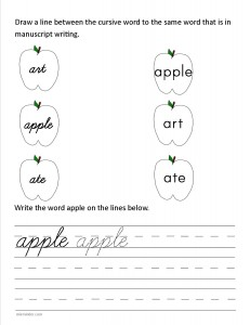 Download the cursive lower case letter a worksheet