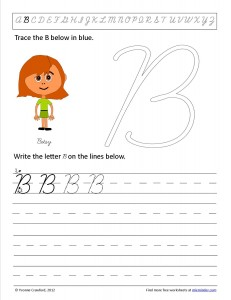 Download the cursive capital letter B worksheet