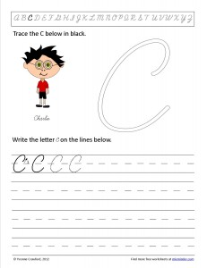 Download the cursive capital letter C worksheet