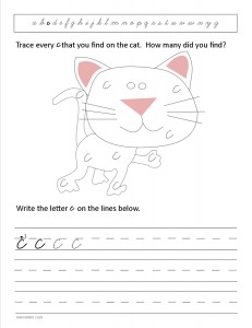 Download the cursive lower case letter c worksheet