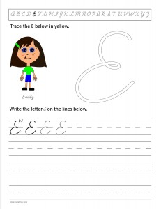 Download the cursive capital letter E worksheet
