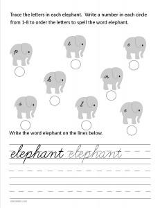 Download the cursive lower case letter e worksheet