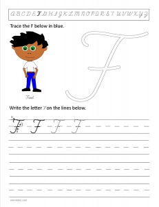 Download the cursive capital letter F worksheet