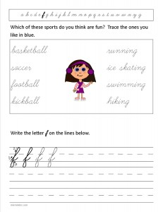Download the cursive lower case letter f worksheet