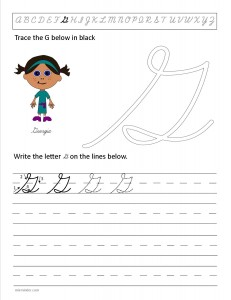Download the cursive capital letter G worksheet