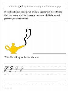Download the cursive lower case letter g worksheet