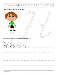 Download the cursive capital letter H worksheet