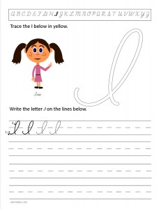 Download the cursive capital letter I worksheet