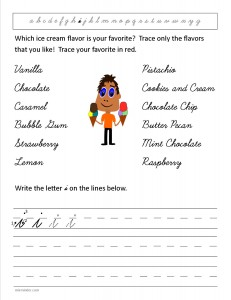 Download the cursive lower case letter i worksheet