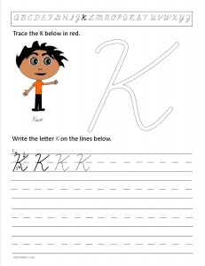 Download the cursive capital letter K worksheet