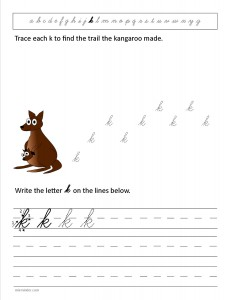Download the cursive lower case letter k worksheet