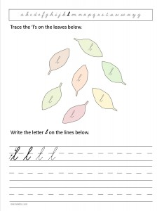 Download the cursive lower case letter l worksheet
