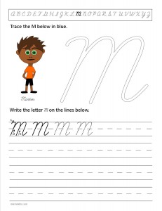 Download the cursive capital letter M worksheet