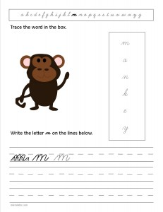 Download the cursive lower case letter m worksheet