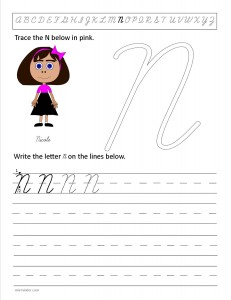 Download the cursive capital letter N worksheet