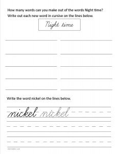 Download the cursive lower case letter n worksheet
