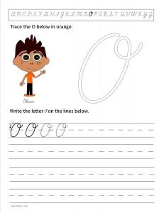 Download the cursive capital letter O worksheet