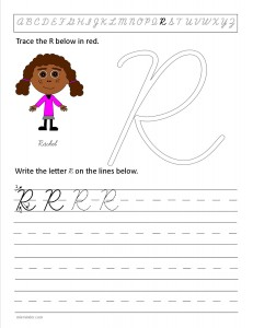 Download the cursive capital letter R worksheet