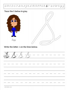 Download the cursive capital letter S worksheet