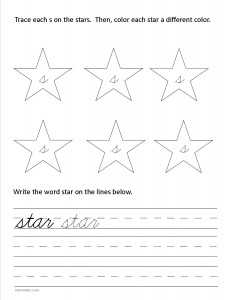 Download the cursive lower case letter s worksheet