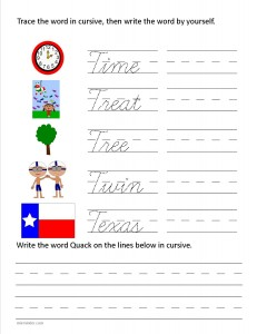 Download the cursive capital letter T worksheet