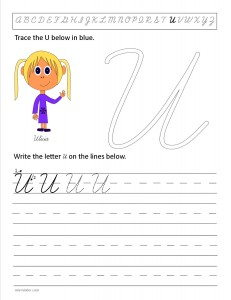 Download the cursive capital letter U worksheet