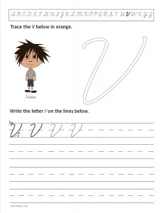 Download the cursive capital letter V worksheet