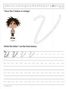 Download the cursive capital letter V worksheet
