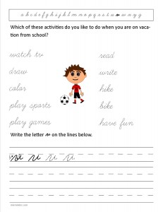 Download the cursive lower case letter v worksheet