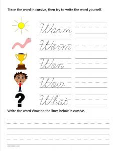 Download the cursive capital letter W worksheet