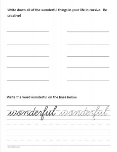 Download the cursive lower case letter w worksheet
