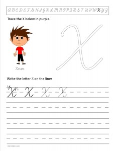 Download the cursive capital letter X worksheet