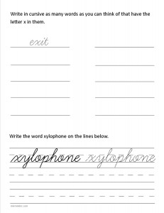 Download the cursive lower case letter x worksheet