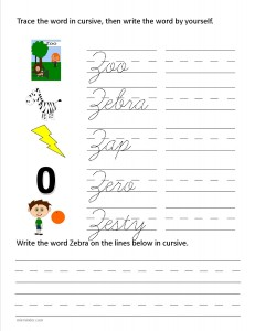 Download the cursive capital letter Z worksheet