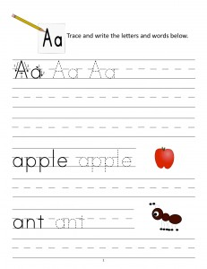 Download the manuscript handwriting letter A worksheet